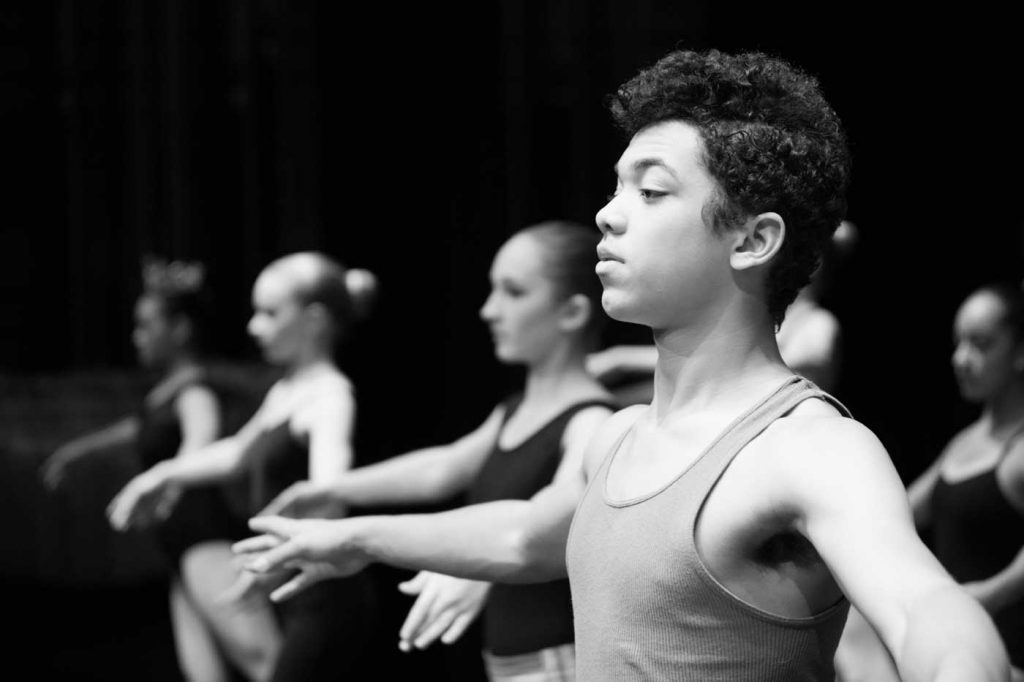 Student Tyler D taking class at Vancouver City Ballet